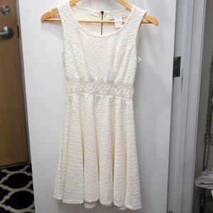 White Skater Dress with cutout detail